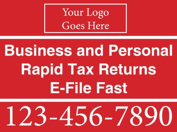 tax lawn sign template 02 red