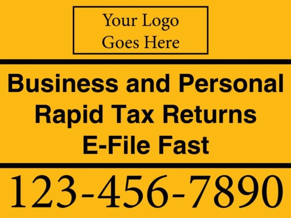 tax lawn sign template 02 yellow